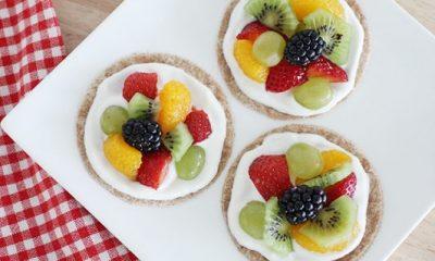 Receta de pizza de frutas con yogurt saludable